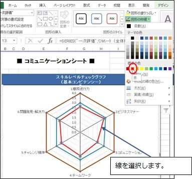 グラフの軸の色の変更画面