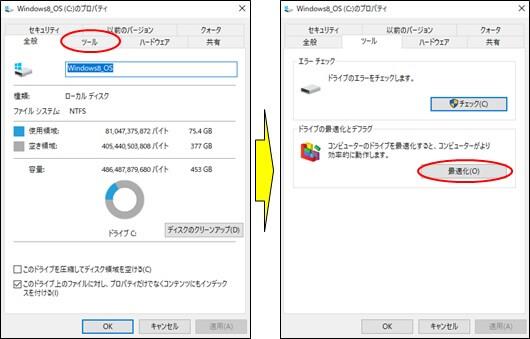 ドライブの最適化とデフラグの「最適化」を選択したプロパティ画面