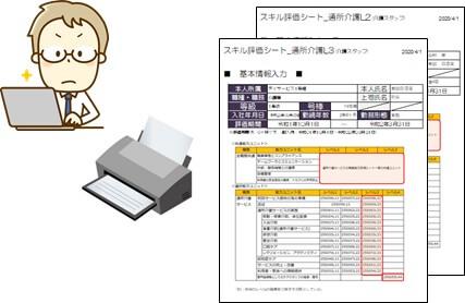 本部がスキル評価シートを印刷するイメージ図