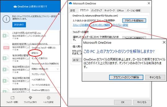 PCのOneDriveのリンク解除の設定画面