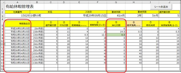 改訂前の有給休暇管理表のシート