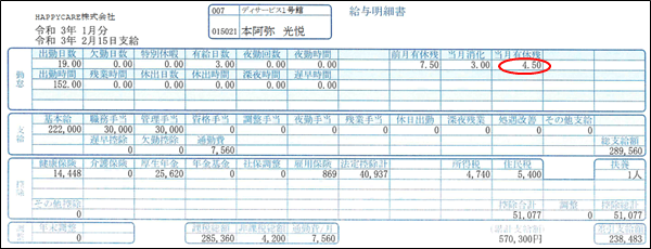 当月有休残の印刷された本阿弥光悦さんの給与明細書