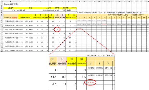 時季欄を大きく示した小野小町さんの有給休暇管理表シート