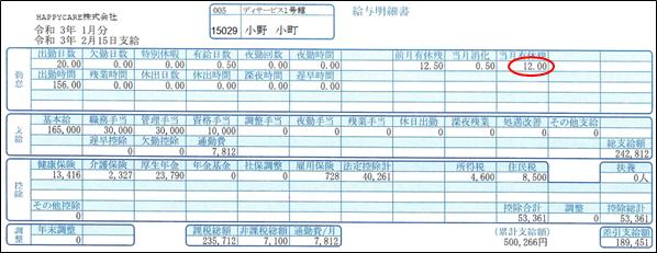 当月有休残の印刷された小野小町さんの給与明細書