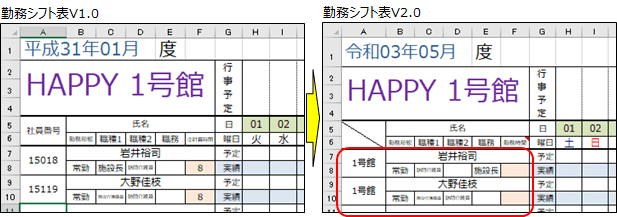 VLOOKUPを使用しないV2.0勤務シフト表