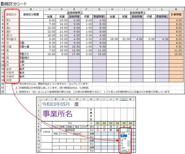 勤務区分がリストボックスより選択できるV2.0勤務シフト表