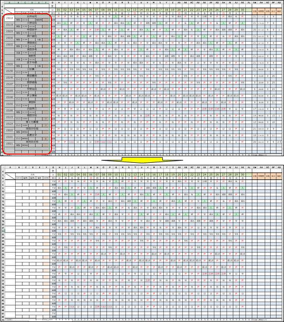 氏名欄等を初期化した勤務シフト表