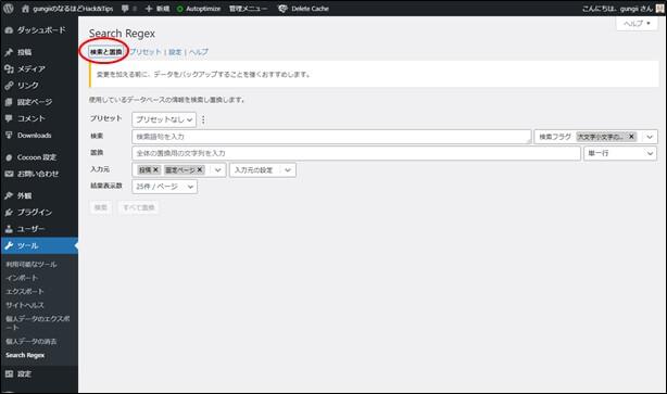 SearchRegexの設定画面